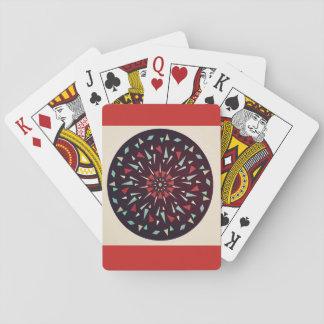 Red Tan Cosmic Geometric Design Playing Cards