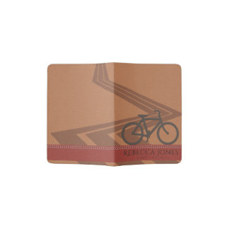 RED TAN ORANGE LEATHER BIKE BICYCLE ROAD MONOGRAM PASSPORT HOLDER