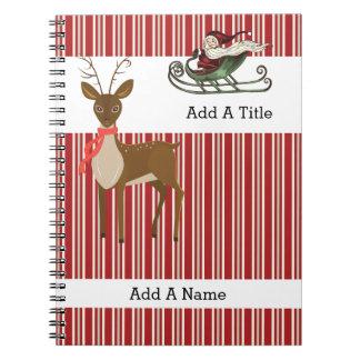 Red Tan-White Stripe•Santa-Reindeer•Custom Spiral Note Book
