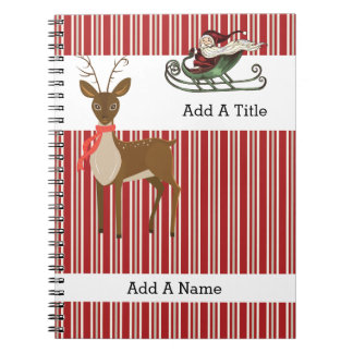 Red Tan-White Stripe•Santa-Reindeer•Custom Spiral Notebook