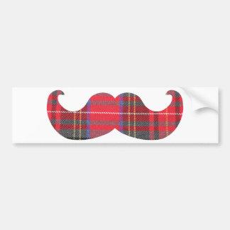 Red Tartan Moustache Bumper Sticker