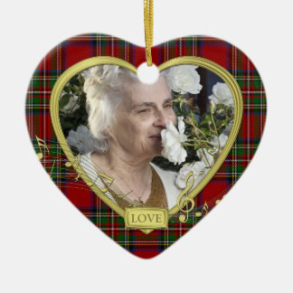 Red Tartan Music Memorial Heart Photo Christmas Ceramic Heart Decoration