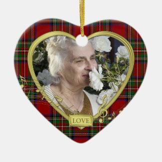 Red Tartan Music Memorial Heart Photo Christmas Christmas Ornament
