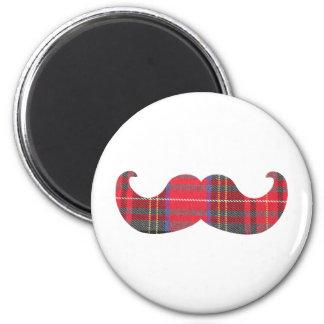 Red Tartan Mustache Magnet