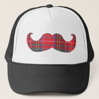 Red Tartan Mustache Trucker Hat