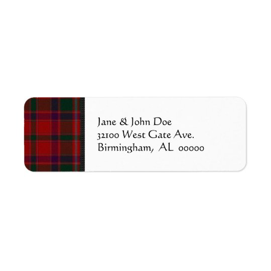 Red Tartan Plaid Address Labels