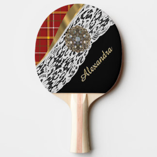 Red tartan plaid and white lace ping pong paddle