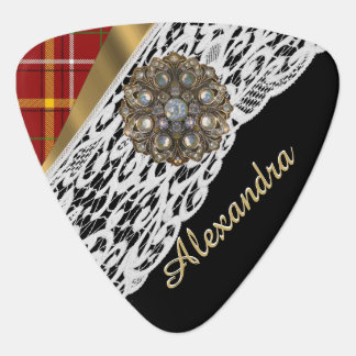 Red tartan plaid and white lace plectrum
