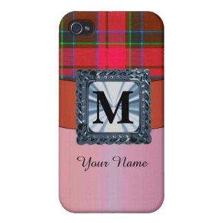Red tartan plaid personalized monogram iPhone 4/4S cover