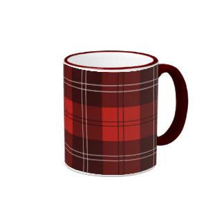 Red tartan ringer mug