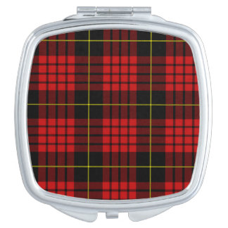 Red Tartan Square Compact Mirror