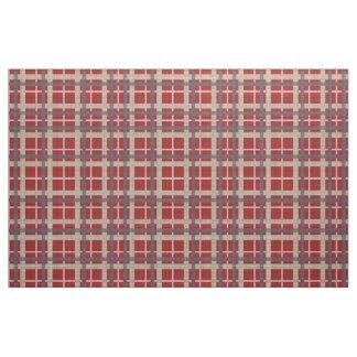 Red Taupe Brown Gray Blue Tartan Squares Pattern Fabric