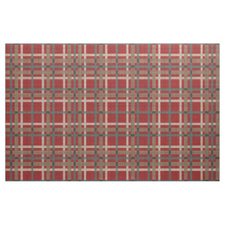 Red Taupe Brown Teal Blue Tartan Squares Pattern Fabric
