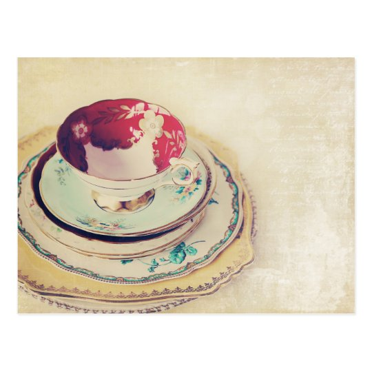 Red Tea Cup Post Card