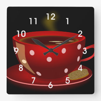 Red Tea or Coffee Cup Kitchen Wall Clock