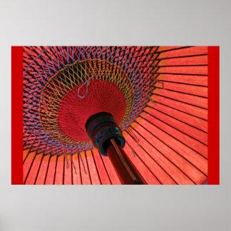 Red Tea Umbrella Poster