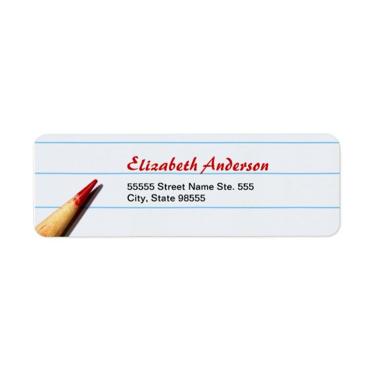 Red Teacher Pencil On Lined Paper With Name Return Address Label
