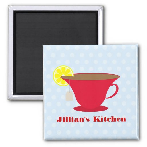 Red Teacup / Blue Background Kitchen Magnet