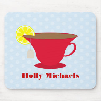 Red Teacup Light Blue Background Mouse Pads
