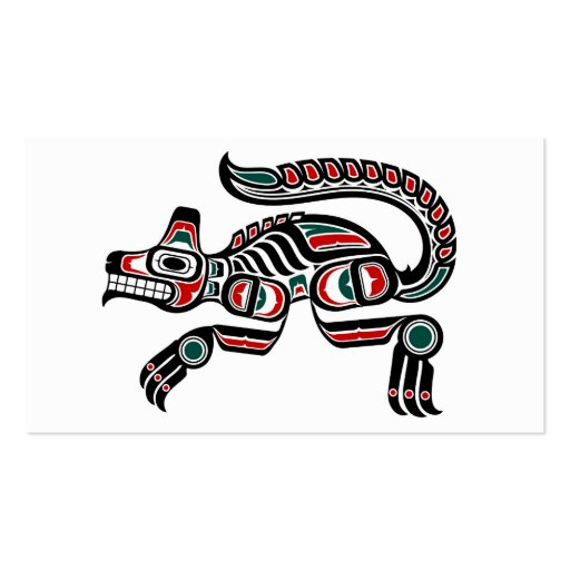 Red Teal and Black Haida Spirit Wolf Business Card Templates