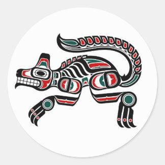 Red Teal and Black Haida Spirit Wolf Classic Round Sticker