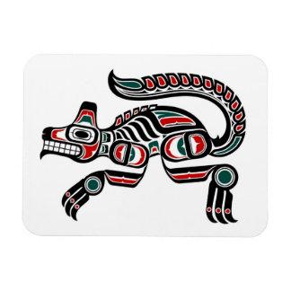 Red Teal and Black Haida Spirit Wolf Vinyl Magnet