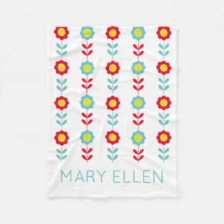 Red Teal and Yellow Flowers on White Personalized Fleece Blanket