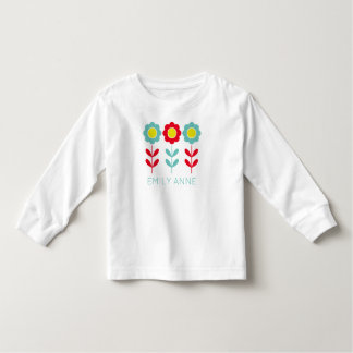 Red Teal and Yellow Flowers on White Personalized Toddler T-Shirt