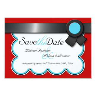 Red & Teal, Black Ribbon Save the Date 9 Cm X 13 Cm Invitation Card