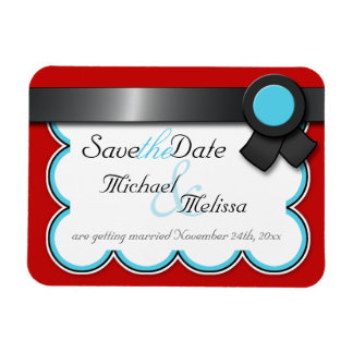 Red & Teal, Black Ribbon Save the Date flat Magnet