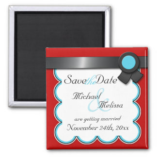 Red & Teal, Black Ribbon Save the Date Magnet