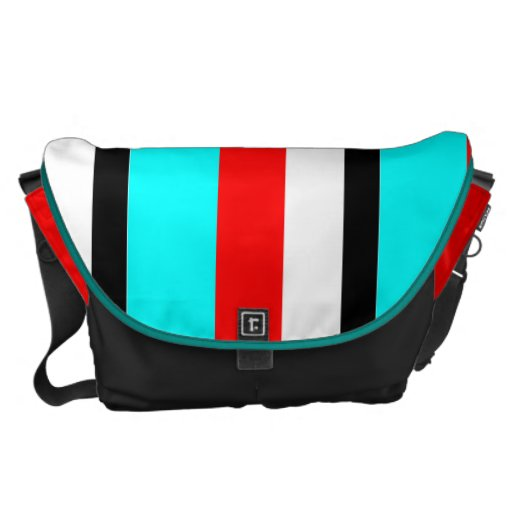 Red Teal Black White Stripe Courier Bags