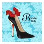 Red Teal Blue Damask Black High Heel Shoe Birthday Custom Invitation