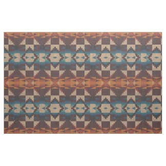 Red Teal Blue Taupe Brown Orange Ethnic Look Fabric