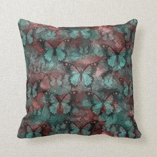 Red Teal Butterflies Throw Pillow