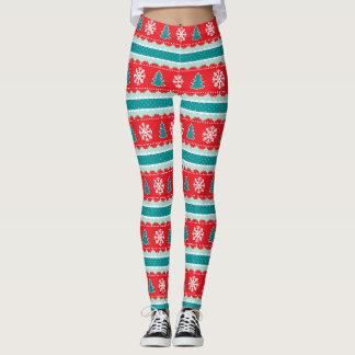 Red Teal Christmas Striped Pattern Leggings