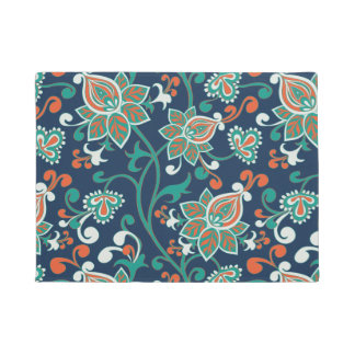 Red Teal Floral Wallpaper Pattern Doormat