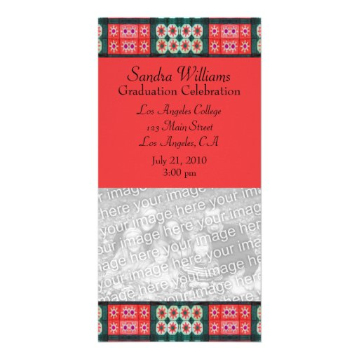 Red Teal Graduation Photo Card Template