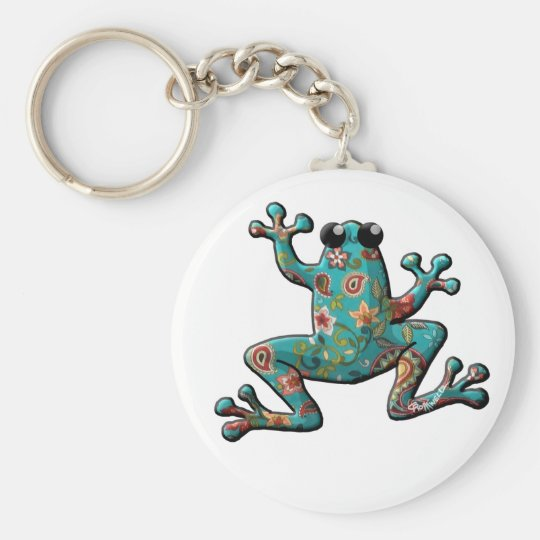 Red Teal Paisley Frog Basic Round Button Key Ring