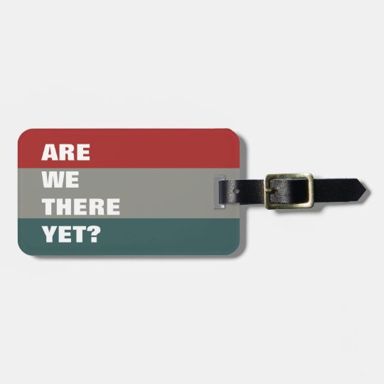 Red Teal Slate Colour Palette Striped Funny Text Luggage Tag