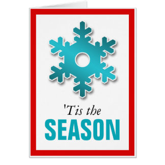 Red & Teal Snowflake Winter 'Tis the Season Card