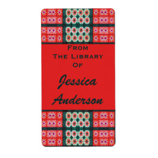 Red Teal Tile Bookplates Shipping Label