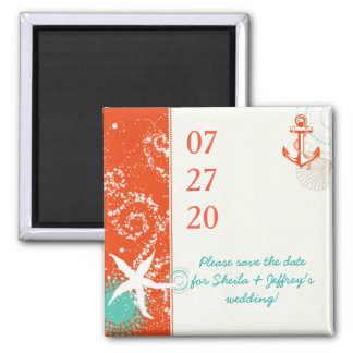 Red Teal White Nautical Wedding Save the Date Square Magnet