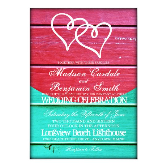 Red Teal Wood Boards Double Hearts Wedding Invites
