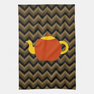 Red Teapot on Brown Zigzags. Tea Towel