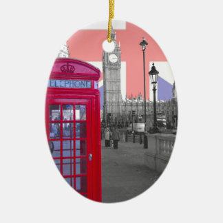 Red Telephone Big Ben Ceramic Oval Decoration