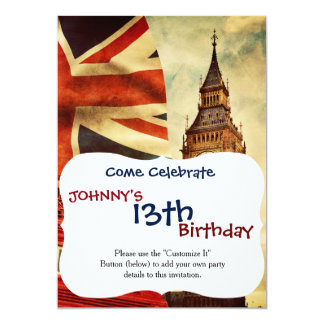 Red telephone booth and Big Ben in London, England 13 Cm X 18 Cm Invitation Card