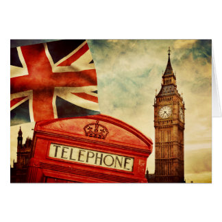 Red telephone booth and Big Ben in London, England Card