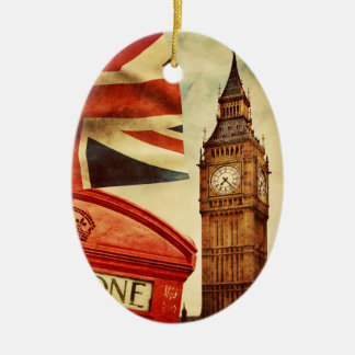 Red telephone booth and Big Ben in London, England Ceramic Oval Decoration