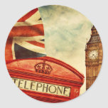 Red telephone booth and Big Ben in London, England Round Sticker